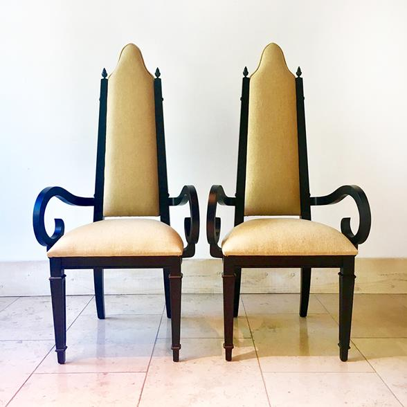Pair of Theatrical Highbacked Ebonised Framed Armchairs 1960s