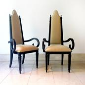 Pair of Theatrical Highbacked Ebonised Framed Armchairs 1960s Alternate image