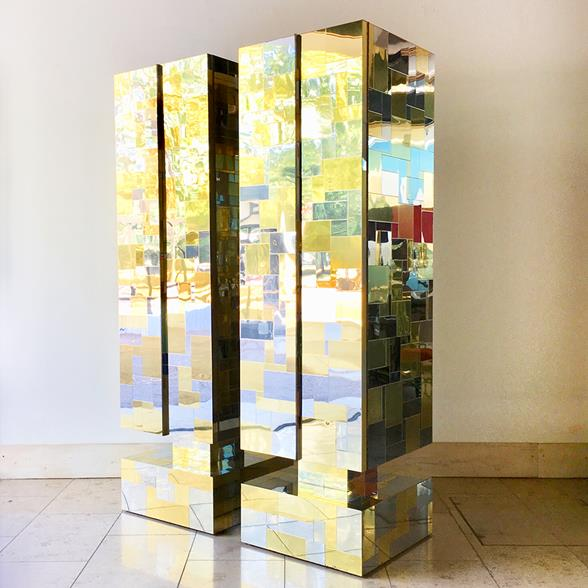Pair of Totem Cityscape Cabinets by Paul Evans 1970s