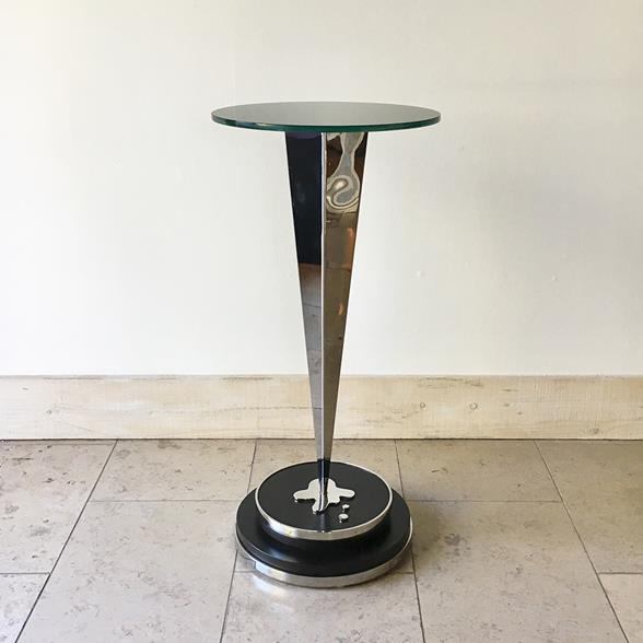 Polished Metal Pedestal with Black Glass Top 1960s