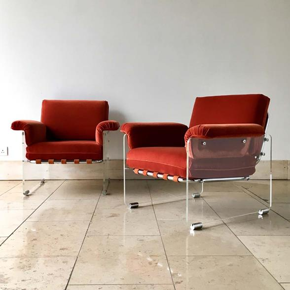Rare Pair of Lucite Framed Upholstered Armchairs by Pace 1970s