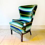 Regency Inspired Wingback Chair with Buttoned Upholstery Alternate image