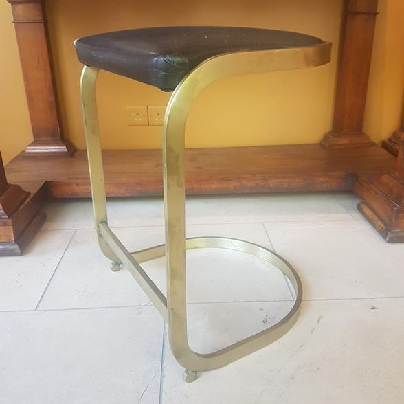 Single Brushed Brass Framed Counter Height Stool