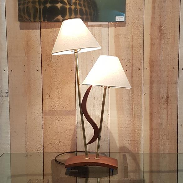 Single Teak Double Shaded Lamp 1950s