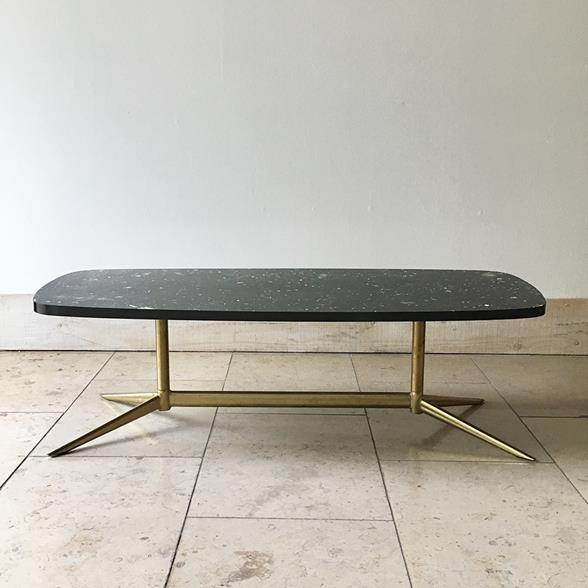 Space Age Faux Marble Mica Coffee Table on Splayed Legs 1960s
