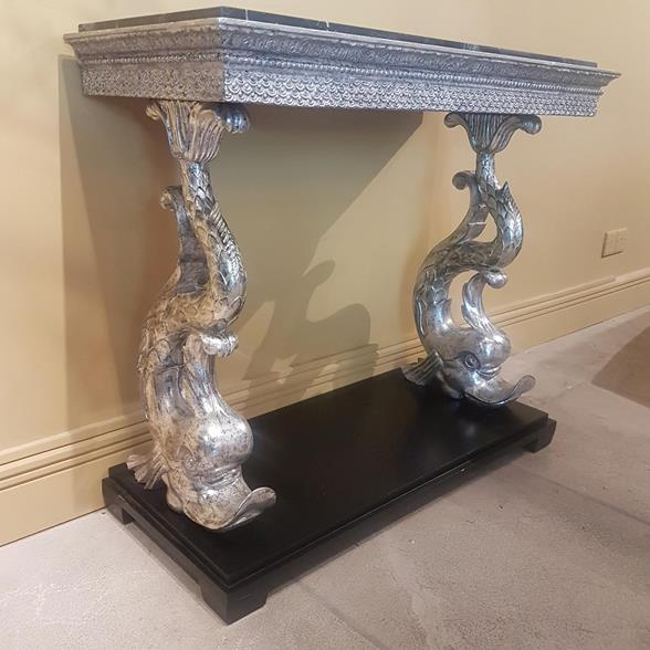 Swedish Empire Silverleafed Dolphin Console Table circa 1820