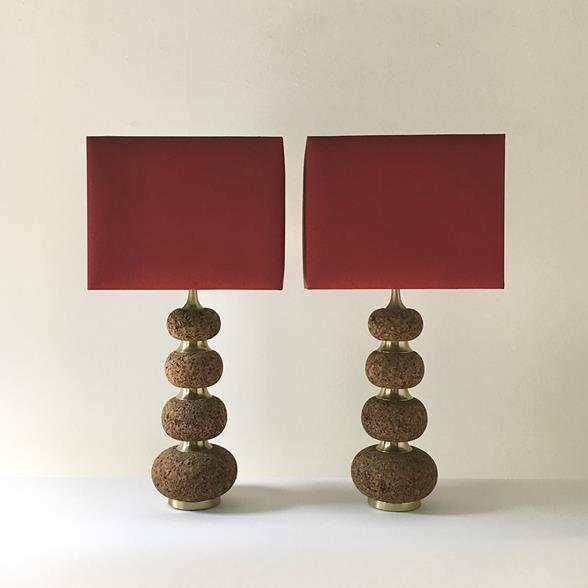Tall Pair of Cork Lamps