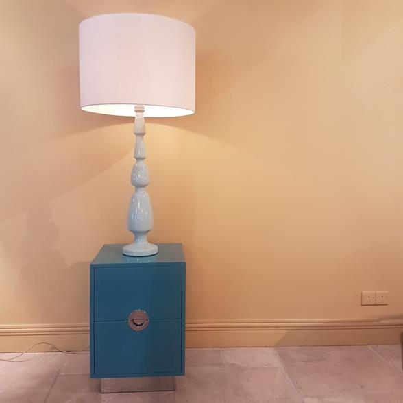 Tall Single Aquamarine Lacquered Table Lamp 1950s