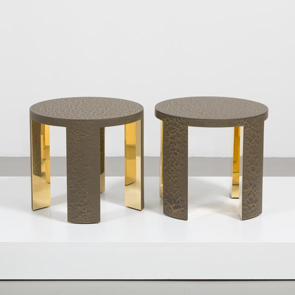 The Circular Crackle Side Tables by Talisman Bespoke