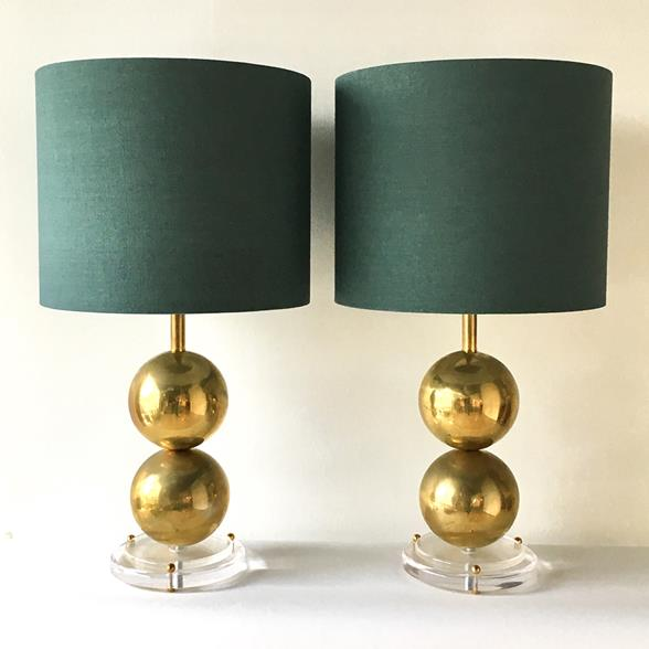Unique Pair of Spherical Brass and Lucite Based Table Lamps