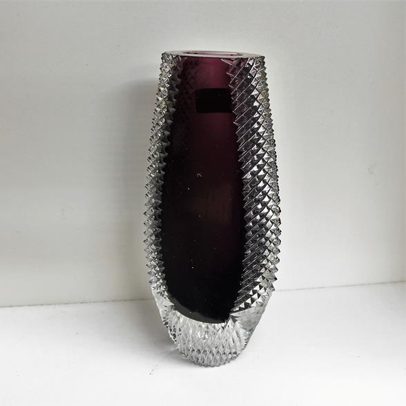 Vintage Bleikristall Glass Vase with a Deep Purple Centre